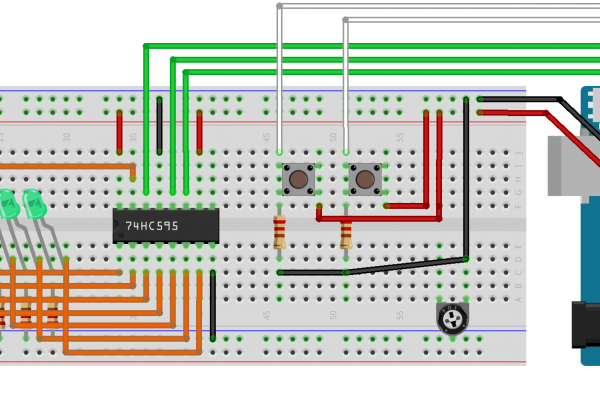 Push Button e 74HC595 su Arduino