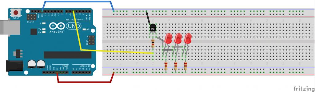 corrente di 60mA, 3 LED in parallelo alimentati con Transistor BC546