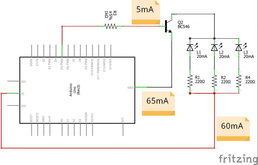 Transistor come interruttore di corrente pilotato da Arduino